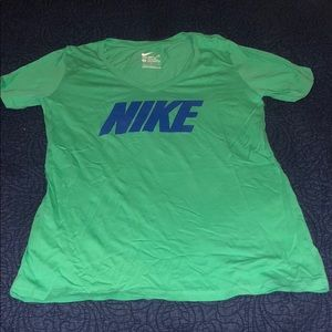 Nike - Green V Neck Top - L